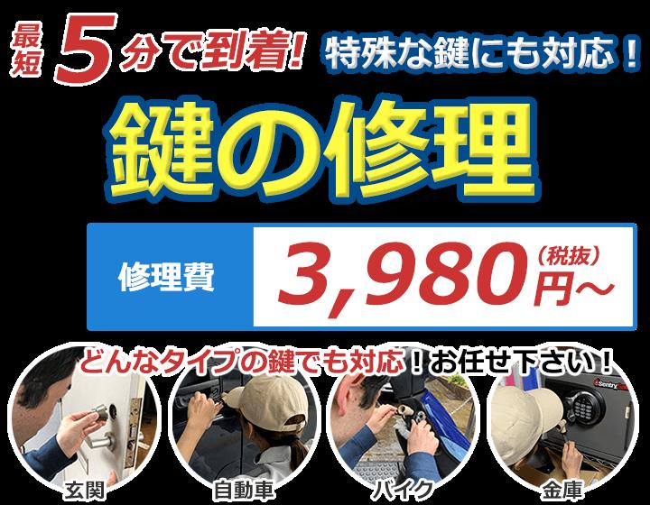 最短5分で到着!特殊な鍵にも対応!鍵の修理 修理費出張費込み 3,980円(税抜)~